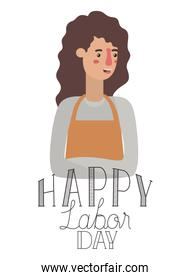 young woman with apron celebrating the labor day avatar character