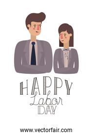 businessmen couple celebrating the labor day avatar character