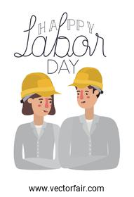 couple of builder celebrating the labor day avatar character