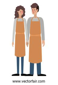 couple with apron avatar character