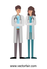 couple of doctors avatar character over white