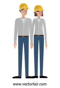 isolated couple of builder avatar character