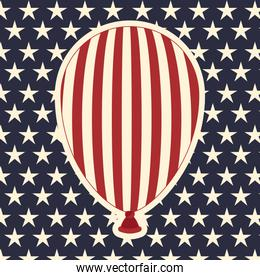 american flag pattern background with balloons icon