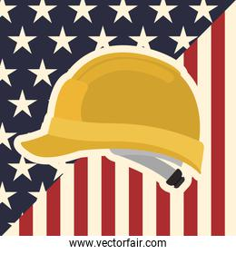 american flag pattern background with helmet icon