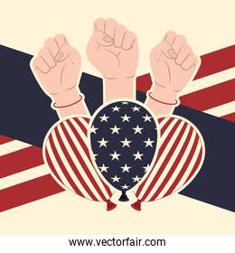 american flag pattern background with hand icon