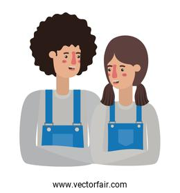 couple with overalls avatar character