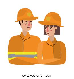 couple of firefighters isolated icon
