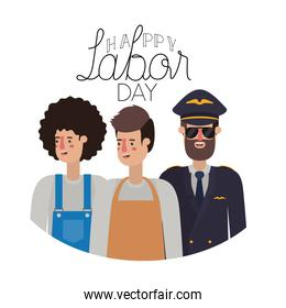 group of professionals with happy labor day avatar character