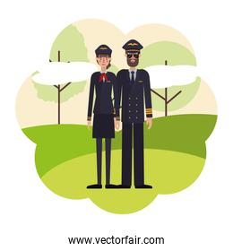 couple of pilots with landscape avatar character