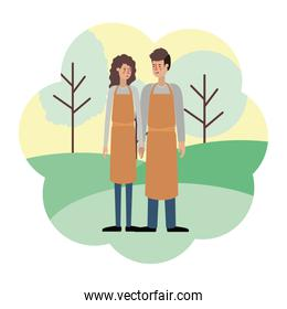 couple with apron with landscape avatar character