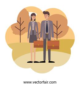 businessmen couple with landscape avatar character