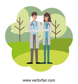 couple of doctors with landscape avatar character
