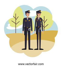 couple of police with landscape avatar character