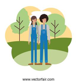 couple with overalls with landscape avatar character