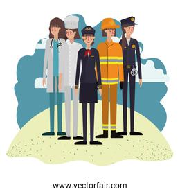 group of professionals with landscape avatar character
