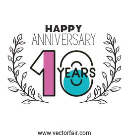 number 10 for anniversary celebration card icon