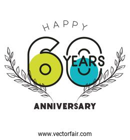 number 60 for anniversary celebration card icon