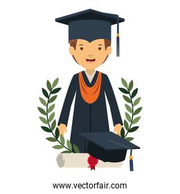 young man graduating with certificate avatar character