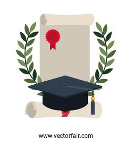 graduation certificate with wreath and hat isolated icon