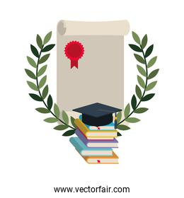 graduation certificate with wreath and books icon