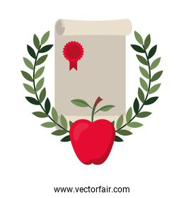 graduation certificate with wreath and apple icon