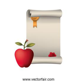 graduation certificate with apple isolated icon