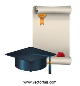 graduation certificate with hat isolated icon