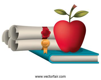 graduation certificate with apple and book icon