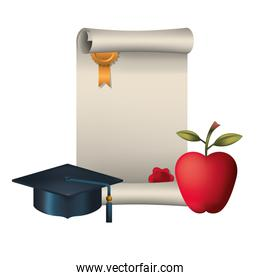 graduation certificate with hat and apple icon