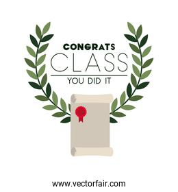 happy graduation day with wreath isolated icon