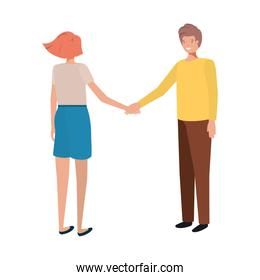 young couple holding hands avatar character