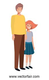 father and daughter smiling avatar character