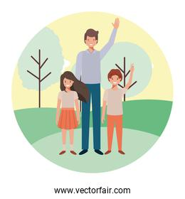 father with his children in the landscape avatar character