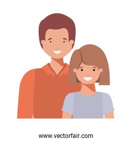 father with his daughter smiling avatar character