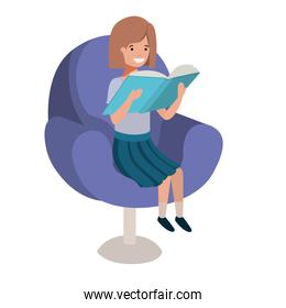 woman reading book in the sofa avatar character
