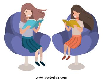 women sitting in sofa with book avatar character