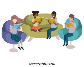 group of people sitting in sofa with book avatar character