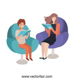 mother and son sitting on sofa with book avatar character