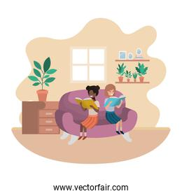 women with book in livingroom avatar character