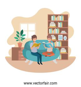 men with book in livingroom avatar character