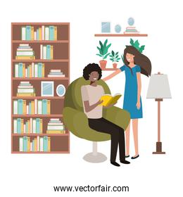 couple with book in livingroom avatar character