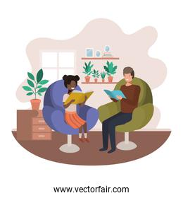 smiling father and daughter with book in livingroom avatar character