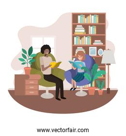 father and daughter with book in livingroom avatar character