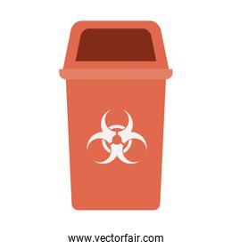 red recycling basket isolated icon