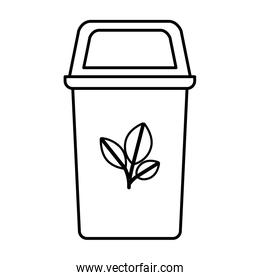 recycling basket with leafs isolated icon