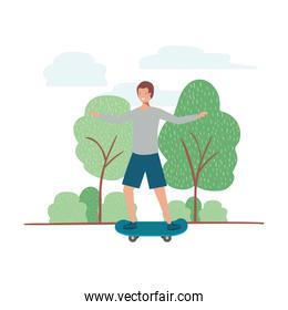 young man with skateboard in landscape