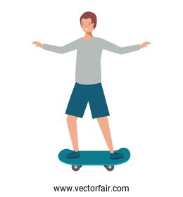 young man with skateboard avatar character