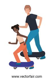 couple woman with skateboard avatar character