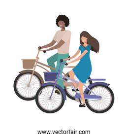 couple with bicycle avatar character