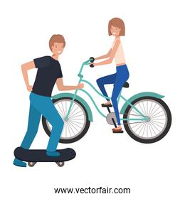 young couple practicing sports avatar character